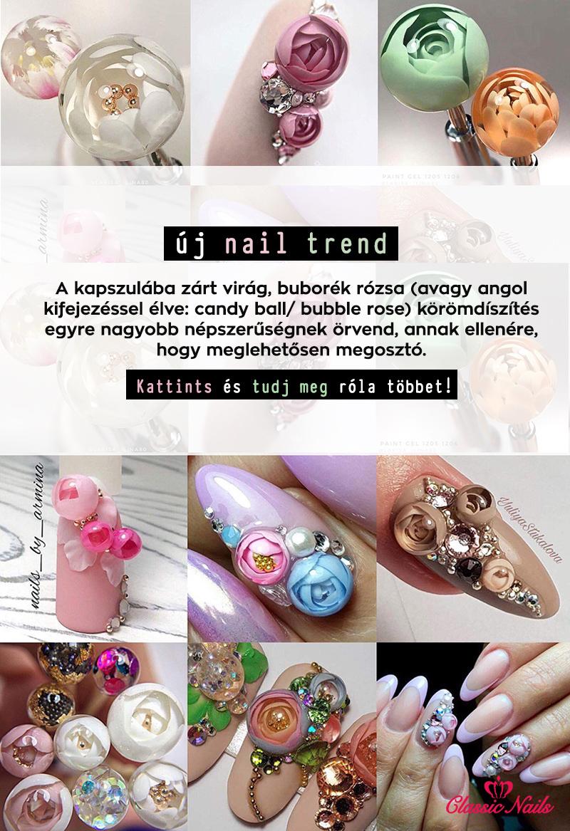 Bubble rose, candy ball nail art