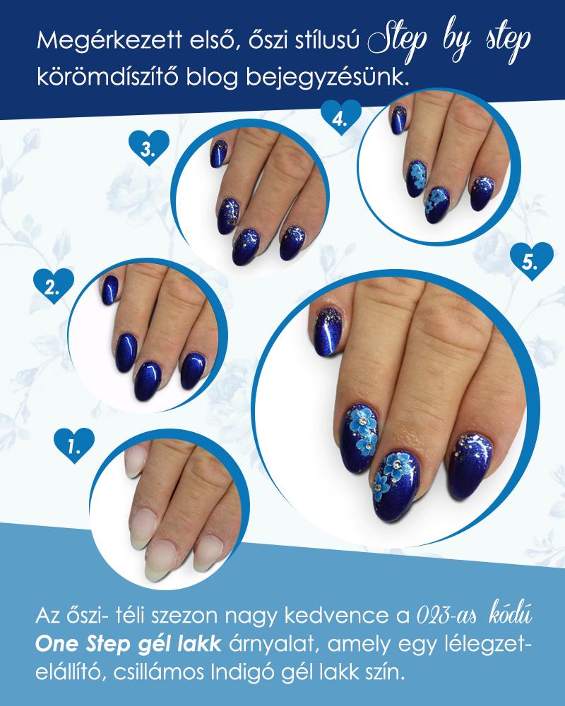 Csillámos, kék gél lakk, őszi virág mintával