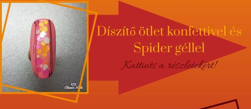 Konfettis körmök spider gel díszítéssel